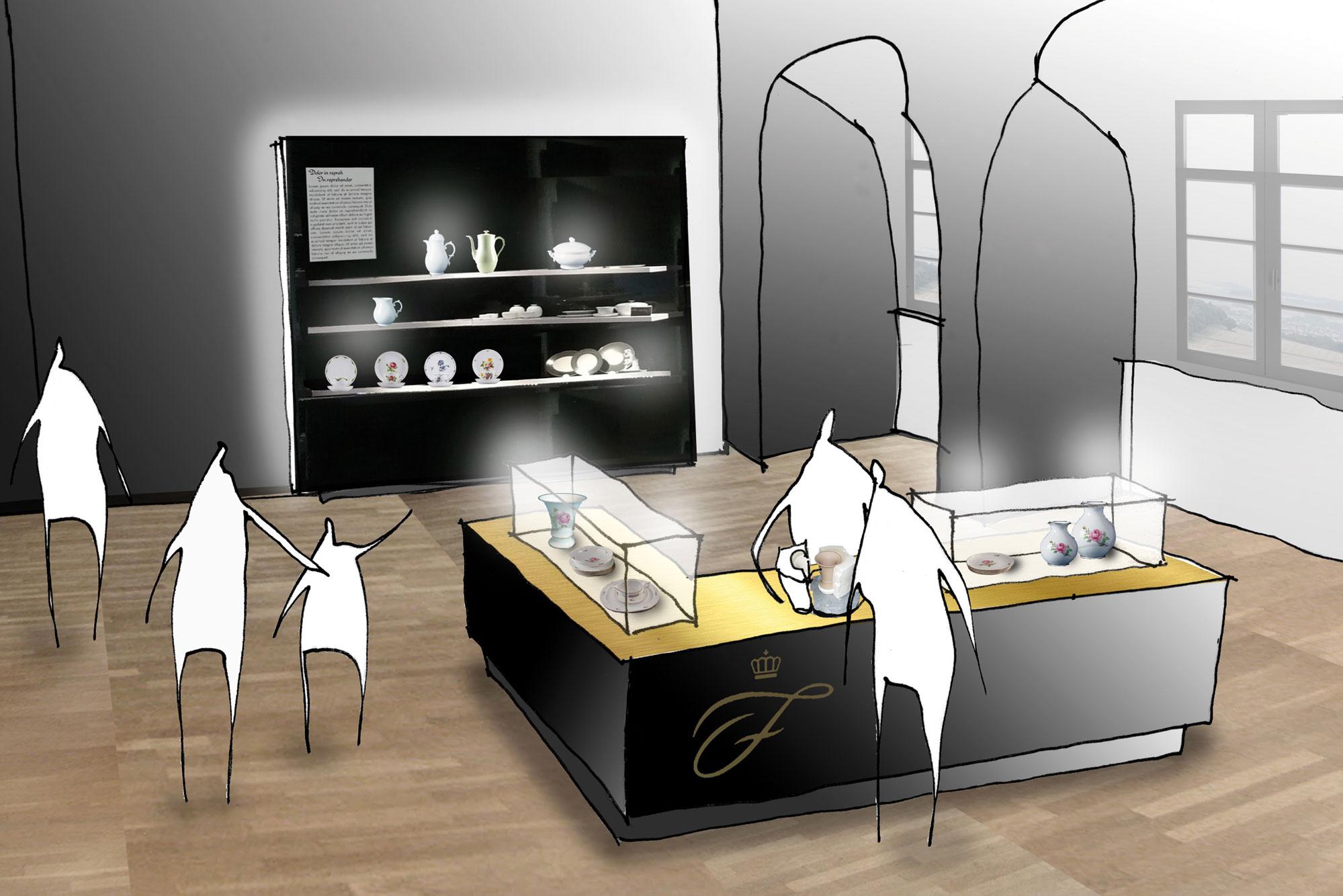 von GROTE Ausstellungsgestaltung und Design / Fürstenberg Porcelain Manufacturer – Museum in a Castle